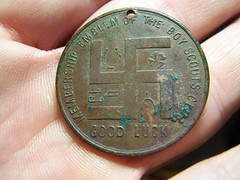 Good Luck symbol, for the Boy Scouts? (Txrelichunter) Tags: coin symbol nazi swastika luck egyptian horseshoe token clover boyscout hieroglyphs goodluck wishbone runic metaldetecting treasurehunting excellior