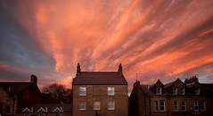 fireworks display (Ray Byrne) Tags: houses sunset red sky clouds alnwick northumberland raybyrne byrneoutcouk webnorthcouk