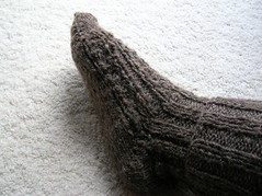 Hubby's Handspun Handknit sock on my foot