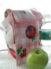 pink gingham and fruit oilcloth lunchbag- craft 365- day3