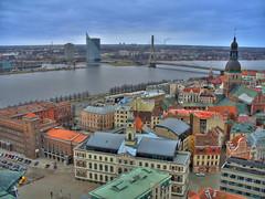 Riga (dgaponenko) Tags: bridge building water river latvia roofs hdr buldings riga hdri 3xp photomatix