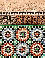 Medersa Ben-Youssef - wall detail (therma) Tags: mosaic morocco maroc marrakech mosaique islamicart medersa benyoussef ecolecoranique coranicschool artislamique