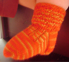 twisty toddler sock on