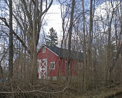 Hiding barn (Larry the Biker) Tags: trees red barn rural spring michigan farm country farming shed ag farms agriculture rochesterhills winklermillroad