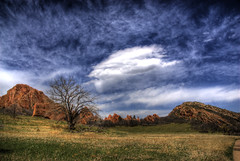 Red Rock Landscape (Thad Roan - Bridgepix) Tags: statepark blue trees red sky green nature clouds landscape sandstone bravo colorado rocks denver explore wikipedia geology littleton 200805 roxboroughstatepark diamondclassphotographer flickrdiamond