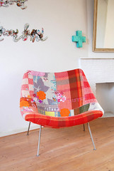 Pierre Paulin chair (ATLITW) Tags: pink flowers red orange colour art home vintage chair cross handmade embroidery retro textile blanket eclectic homedecor