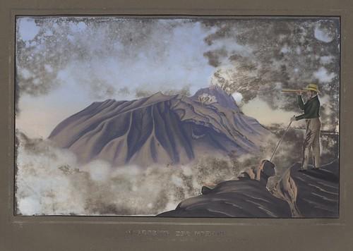 Nordseite des Merapi aus einer Höhe von 7500 Fuss vom südl. Abhange des Merbabu gesehen.