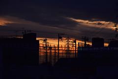 20170222_004_2 (まさちゃん) Tags: 高圧送電線 silhouette シルエット 電柱 電線 夕暮れ時