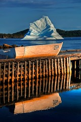 Iceberg dory (Rick Gravelle) Tags: reflection dock nikond70 nik iceberg dory topaz photomatix twilingate singlejpghdr mygearandme summerfordiceberg northerncoastofnewfoundland