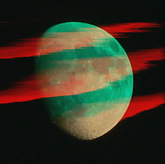 Scratches on the Moon (Canicuss) Tags: red moon green strange weird panasonic spooky mysterious accidental glitch alteredphoto glitchart fz7 theoffbeat greenmoon