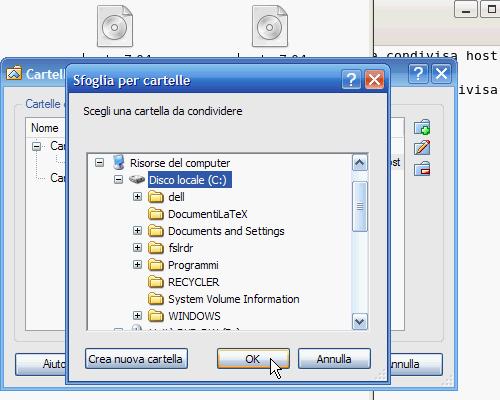 Fig. 16 - Cartelle condivise guest Linux avviato - condivisione disco rigido host