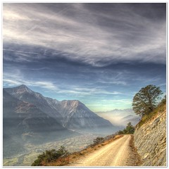 Rhone Valley (christianmeichtry) Tags: road autumn sky mountain tree fall nature fog clouds landscape switzerland europe suisse valley fields rotten wallis valais rhone naturesfinest mywinners abigfave platinumphoto anawesomeshot aplusphoto colourartaward theperfectphotographers illgrabu shadedframe passiondclic