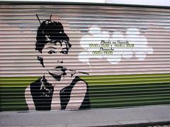 Audrey Hepburn smoking on a shutter [Lyon, France] (biphop) Tags: streetart france store europe audreyhepburn lyon shutter rideau croixrousse ruedumail portecigarette