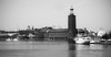 city hall in black and white,Stockholm (el_mo) Tags: sea blackandwhite bw lake lago mare ship sweden stockholm cityhall nave stoccolma