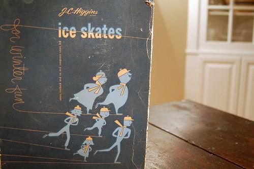 Vintage ice skates box.