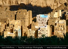 Yemen - Mud house city in Wadi Dawan ( Lucie Debelkova / www.luciedebelkova.com) Tags: world trip travel vacation house holiday tourism asia tour view place mud sightseeing middleeast visit location tourist palm adventure oasis journey arabia destination yemen sight traveling visiting exploration wadi touring ancientworld jemen hadramout wadihadramawt wadidawan luciedebelkova wwwluciedebelkovacom