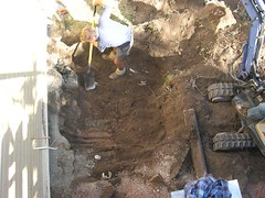 Digging the Hole in our Back Yard for our Plumbing