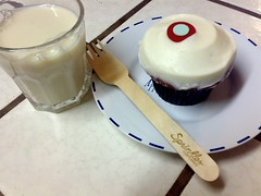 red velvet cupcake + soymilk