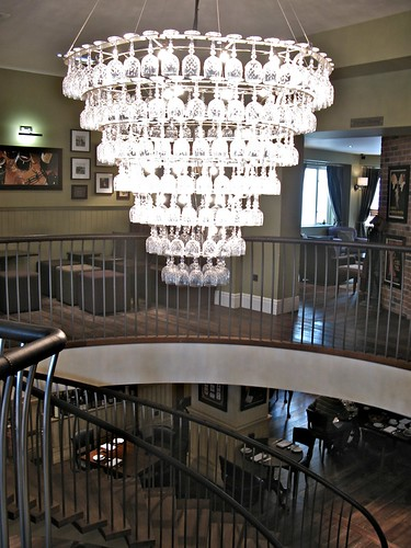 chandelier of wine glasses