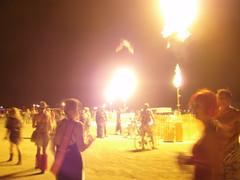 BM 07:  The line of fire jets 5 (a3rynsun) Tags: art fire jet burningman nighttime installation bm 2007 billcodding burninatorx