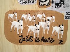 Je Suis La Meute (Tian (Chris a.k.a)) Tags: street dog chien streetart art paper print poster europe wheatpaste tian screen bull sugar terrier screenprinting pack pasted bullterrier papier lemans affiche collé sérigraphie meute †ian