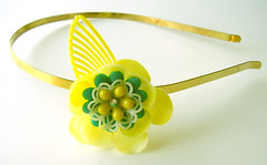 Yellow and Green Vintage Flowers Headband