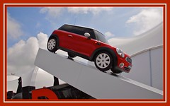 Black & White & Red Allover - Must be a Newspaper (Nala Rewop) Tags: red white holland mini minicooper