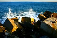 rompiendo (b3co) Tags: barcelona travel viaje blue sea espaa water azul mar spain agua rocks waves catalunya olas catalua rocas b3co piedras lugarbarcelona paisespaa