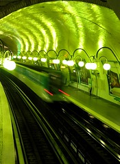 Sous la Seine (esyckr) Tags: green night train metro