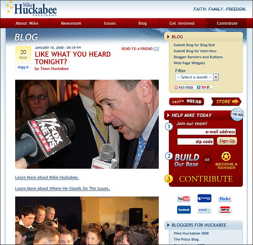Mike Huckabee's Blog promoting the South Carolina Debates