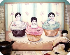 """cupcake girls"" (holiday_jenny) Tags: pink flowers wallpaper white vintage shopping painting aqua dolls candy sweet antique chocolate originalart bisque sugar cupcake porcelain shabbychic everydayisaholiday"