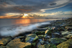 Singapore :Gone Fishing Again (Ragstatic) Tags: singapore sunset landscape landscapes rags rajesh rags1969 nikon labradorpark rocks water green algae sky clouds bravo sunrise ragsphotography labrador seascape sea hdr blending dri reflection city beach morning dawn sun color stockphoto longexposure exposure relax happy light famous photo photograph singaporelandscape singaporeseascape singaporenightshot nightshot google search asia travel tourism visit destination people culture