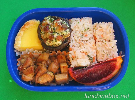 Stuffed mushroom bento lunch for preschooler