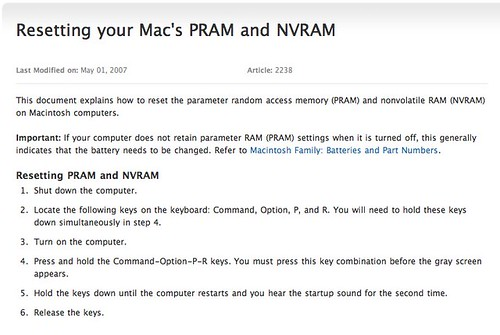 Resetting your Mac's PRAM and NVRAM