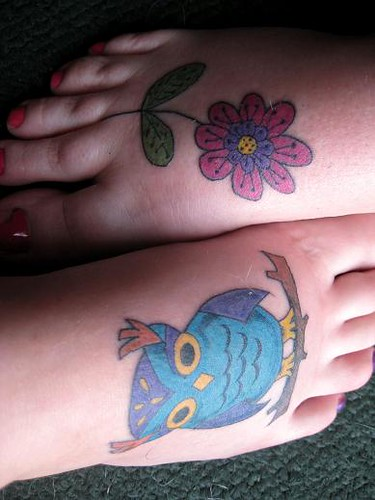 flower tattoo & owl tattoo my mom