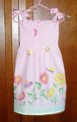 pink smocked sundress - front $15.00 (flowernicky) Tags: set children clothing dress sale recycled handmade top sewing sew skirt dora diaper jeans slip cloth diapers headbands selling onesie nightgown ecofriendly pleats refurbished clothdiaper clothdiapers hairbows embelished