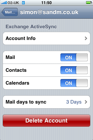 iPhone 2.0 screenshot: Activesync settings