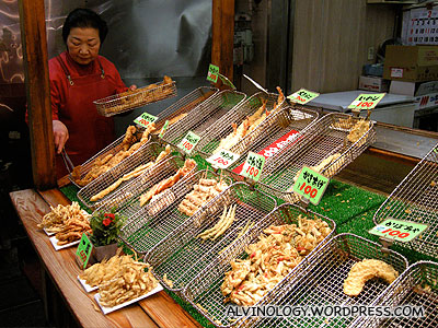 Obasan selling fried seafood