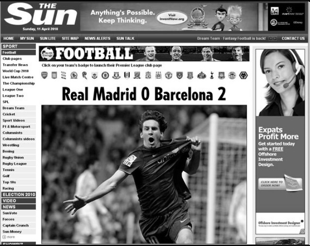 The Sun online 11042010 - EL CLASICO IN MEDIA by MUMINUX