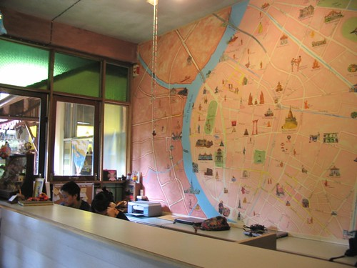 Reception area with cute Bangkok map