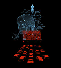 silver screen fabulations (mw82) Tags: mountains eye art cars girl shirt mystery illustration design 1982 theater graphic tshirt drivein pistol winner tee vector maninsuit silverscreen wolfcub fabulated