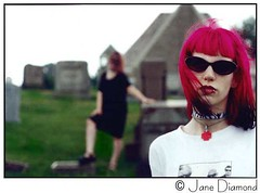 """The Graveyard Girls"" -  Jane & Laura (Jane in Catland - ON TEMP. BREAK) Tags: portrait selfportrait laura cemetery graveyard sunglasses composition 2000 pittsburgh nickrhodes dof jane pennsylvania roadtrip pinky diamond depthoffield redhead lori lipring duranduran canonae1program 00 choker whitetshirt windblown selftimer blackdress 19992000 zebraprint rabiestag late90s thyself explored canonae1programcamera hot"