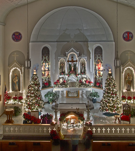 Saint Joseph Roman Catholic Church, in Apple Creek, Missouri, USA - view of nave with Christmas decorations