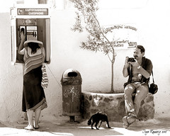 the photographer (Inga Rannveig) Tags: street camera woman dog man tree trash greek sadness photographer sad telephone streetlife santorini greece ingarannveig