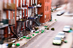 Reduce...Reuse...Blow away! (Teak for Two) Tags: lensbaby trash mess wind montreal blow recycling greenbox bacvert