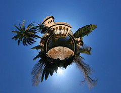 If the world was a haven (Man) Tags: panorama sun tree water garden spain 360 bluesky andalucia unesco full patio explore alhambra granada handheld andalusia 360x180 spherical worldheritage planetoid hugin enblend partal interestingness402 i500 littleplanet manuperez planetoids
