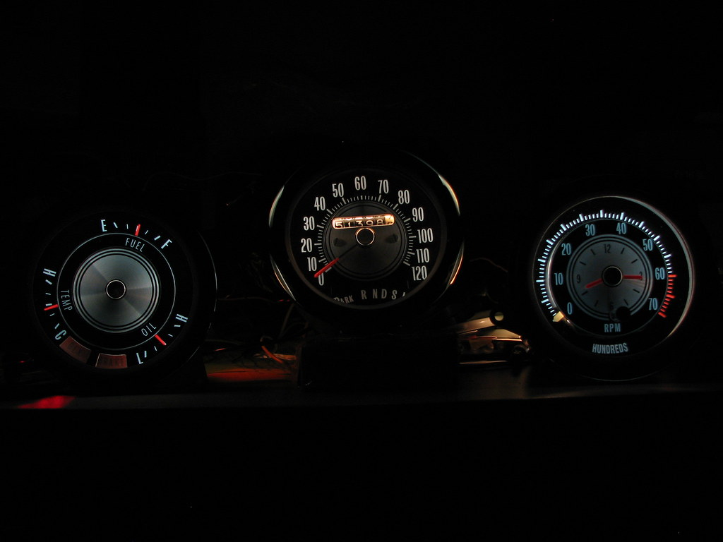 brightening the repro rally pac and other rp stuff to color match to the speedo more white was applied to the outer gauges to give the desired color i left the 168 bulbs int here but 194 s could have