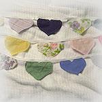 SECRET SANTA<p>Long Multi-colored Hearts Banner/Bunting<p>of Upcycled Fabrics
