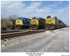 CSX 298, 623, 7778 & 576 (Robert W. Thomson) Tags: railroad train diesel tennessee railway trains locomotive trainengine ge csx etowah ac44cw ac4400 cw44ac ac4400cw ac6000cw cw60ac ac6000 sixaxle ac60cw