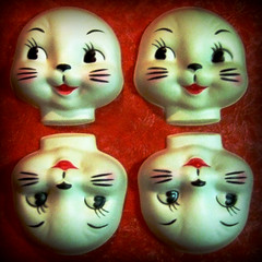 When Skinning And Dressing Rabbits - Discard The Faces (changoblanco) Tags: rabbit bunny face easter doll head plastic mold